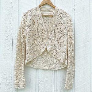 Anthropologie Odense Crochet Knit Cardigan Size L